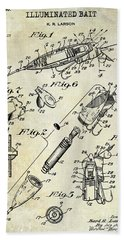 1940 Illuminated Bait Patent Drawing Beach Towel by Jon Neidert