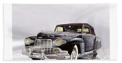 1946 Lincoln Continental Convertible Foggy Reflection Beach Towel by Jack Pumphrey