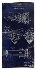 1947 Fishing Net Patent Drawing Blue Beach Towel