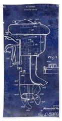1947 Outboard Motor Patent Drawing Blue Beach Towel by Jon Neidert