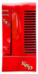1950 Four Wheel Drive Pumper Fire Truck Emblems Beach Sheet by Jill Reger