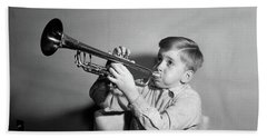 1950s Boy Playing Trumpet Horn Beach Towel