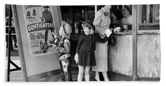 1950s Mother 2 Children Buying Tickets Beach Towel