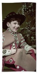 1950s Smiiling Boy Cowboy Hat Costume Beach Towel