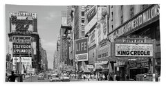 1950s Times Square View North Up 7th Beach Towel