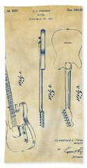 1951 Fender Electric Guitar Patent Artwork - Vintage Beach Towel by Nikki Marie Smith