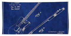 1951 Fender Telecaster Guitar Patent Art 1 Beach Towel