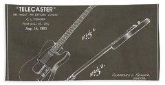 1951 Fender Telecaster Guitar Patent Art In White Chalk On Gray  Beach Towel