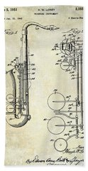 1951 Saxophone Patent Drawing Beach Towel