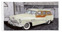 1953 Buick Estate Wagon Woody Beach Towel by Jack Pumphrey