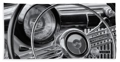 1953 Buick Super Dashboard And Steering Wheel Bw Beach Towel