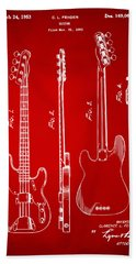 1953 Fender Bass Guitar Patent Artwork - Red Beach Towel