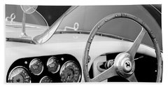 1953 Ferrari 340 Mm Lemans Spyder Steering Wheel Emblem Beach Towel