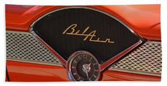 Beach Towel featuring the photograph 1955 Chevy Bel Air Dashboard Clock by Mike Martin