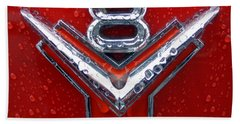 1955 Ford V8 Emblem Beach Towel