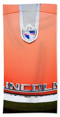 Beach Towel featuring the photograph 1955 Lincoln Indianapolis Boano Coupe Emblem by Jill Reger