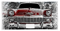 Classic Cars Beach Towel featuring the photograph 1956 Chevy Bel Air by Aaron Berg