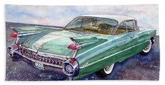 1959 Cadillac Cruising Beach Towel by Anna Ruzsan