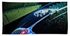 Beach Towel featuring the photograph 1960 Jaguar Xk 150s Fhc Hood Ornament -0441c by Jill Reger