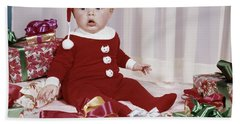 1960s Amazed Baby In Santa Suit Sitting Beach Towel