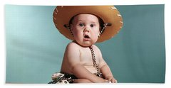 1960s Baby Wearing Cowboy Costume Beach Towel