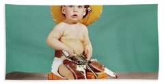 1960s Baby Wearing Cowboy Hat Beach Towel