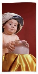 1960s Baby With Fortune Teller Turban Beach Towel