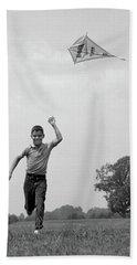 1960s Boy Running Flying Kite Beach Towel