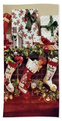1960s Five Christmas Stockings Hanging Beach Towel