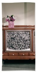 1960s Large Console Television Beach Towel