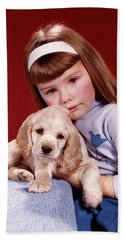 1960s Portrait Serious Little Girl Beach Towel
