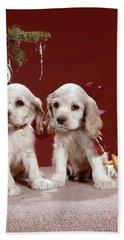 1960s Two Cocker Spaniel Puppies Beach Towel