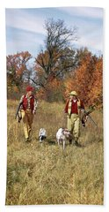 1960s Two Men Walking In Autumn Field Beach Towel
