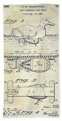 1963 Duck Decoy Patent Drawing Beach Towel