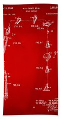 1963 Space Capsule Patent Red Beach Towel by Nikki Marie Smith