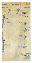 1963 Space Capsule Patent Vintage Beach Sheet by Nikki Marie Smith