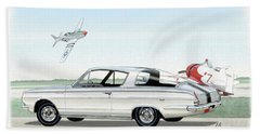 1965 Barracuda  Classic Plymouth Muscle Car Beach Towel by John Samsen