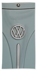 Beach Sheet featuring the photograph 1965 Volkswagen Beetle Hood Emblem by Jani Freimann
