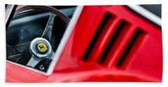 Beach Towel featuring the photograph 1966 Ferrari 275 Gtb Steering Wheel Emblem -0563c by Jill Reger