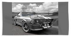1967 Eleanor Mustang In Black And White Beach Towel
