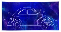 1968 Vw Patent Drawing Blue Beach Towel
