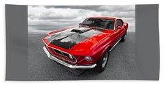 1969 Red 428 Mach 1 Cobra Jet Mustang Beach Sheet