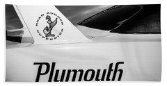 1970 Plymouth Superbird Emblem -0520bw Beach Towel by Jill Reger
