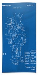 1973 Space Suit Patent Inventors Artwork - Blueprint Beach Towel by Nikki Marie Smith