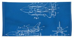 1975 Space Shuttle Patent - Blueprint Beach Sheet by Nikki Marie Smith