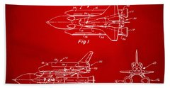 1975 Space Shuttle Patent - Red Beach Towel by Nikki Marie Smith