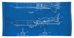 1975 Space Vehicle Patent - Blueprint Beach Towel