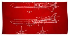 1975 Space Vehicle Patent - Red Beach Towel by Nikki Marie Smith