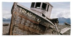 1980s Try Again Boat Wreck Homer Alaska Beach Towel
