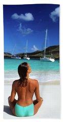 1990s Topless Suntanned Woman Sitting Beach Towel